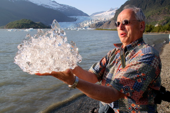 Intrigued by the refractive properties of glacial ice (clear, no air, blue tint)