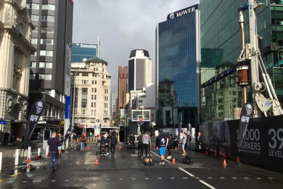 Just a little morning 3-on-3 in downtown Auckland