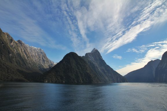 It rains over 200 days per year in Milford Sound, but not today